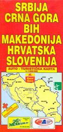 SRBIJA, CRNA GORA, MAKEDONIJA, HRVATSKA, SLOVENIJA (Auto-turistička karta)